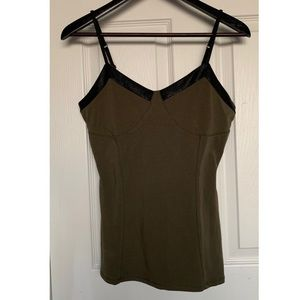 NEW!! EXPRESS Olive Faux Leather Trim Cami Sz M